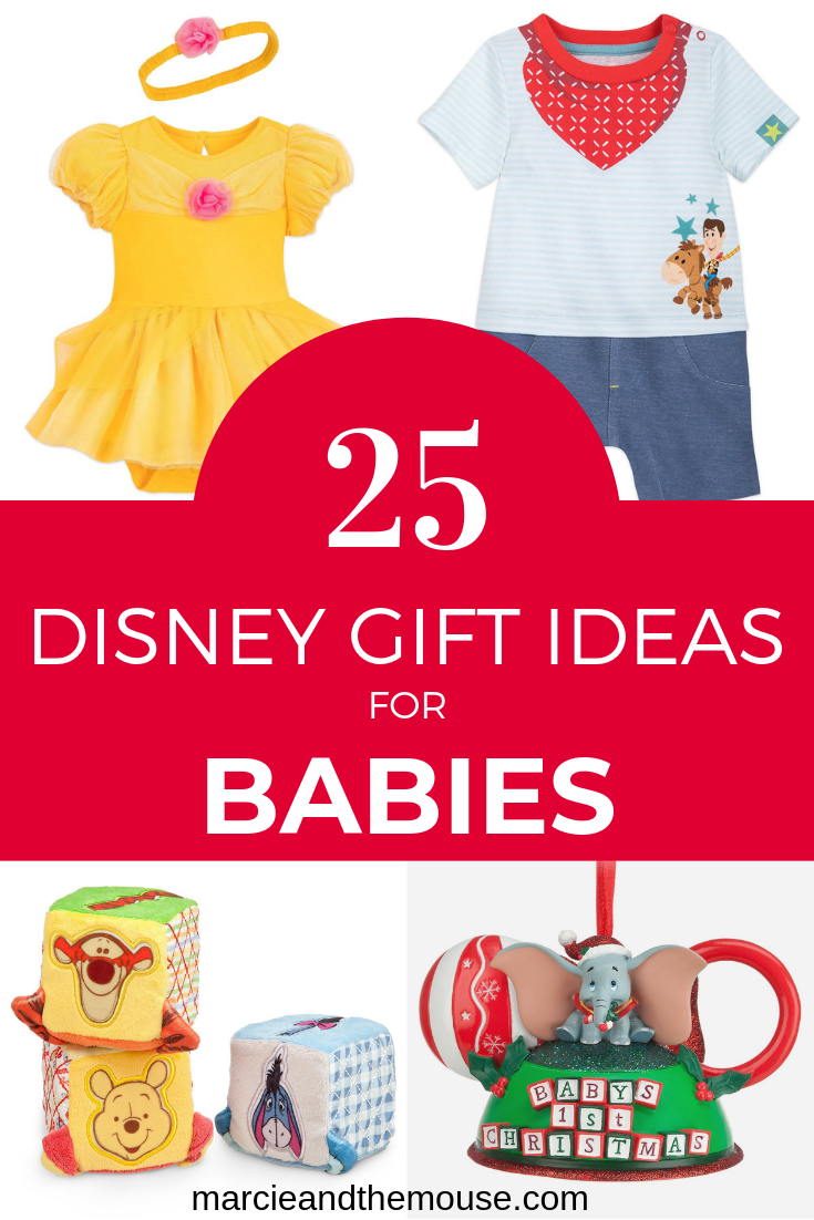 Top 25 Disney Gift Ideas for Babies featured by top US Disney blogger, Marcie and the Mouse: Find the ultimate Disney gift idea for babies with this Disney-themed gift guide.