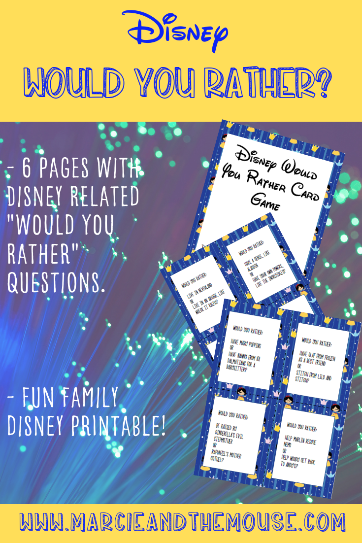 Disney Would You Rather FREE Printable Game featured by top US Disney blogger, Marcie and the Mouse: Planning a road trip to Walt Disney World or Disneyland? Bring along this awesome Disney Would You Rather game to keep the whole family entertained! #disney