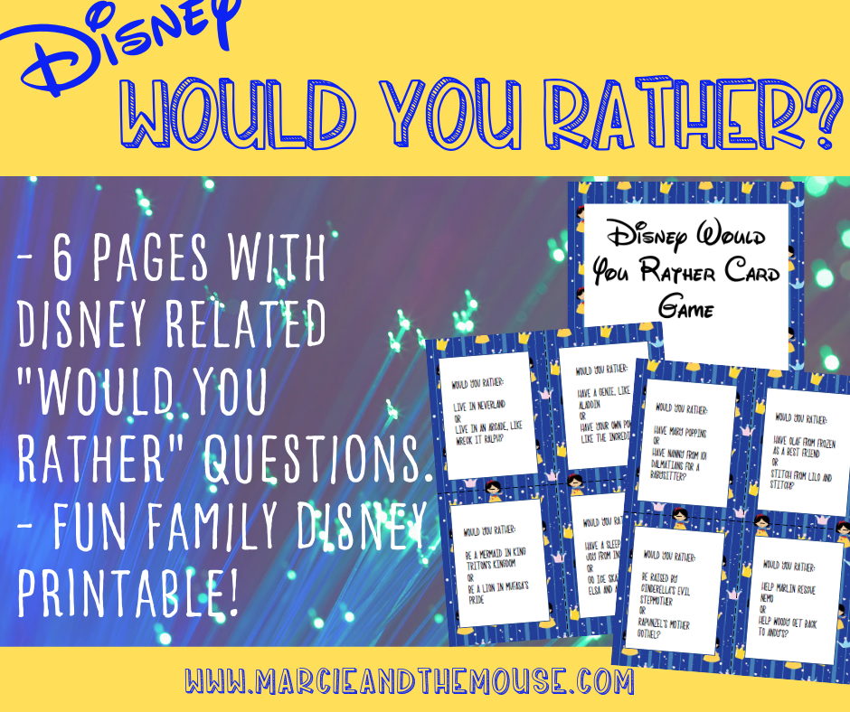 Disney Would You Rather FREE Printable Game featured by top US Disney blogger, Marcie and the Mouse: Road tripping to Disney World? Bring along this Disney Would You Rather game to keep the whole family entertained!