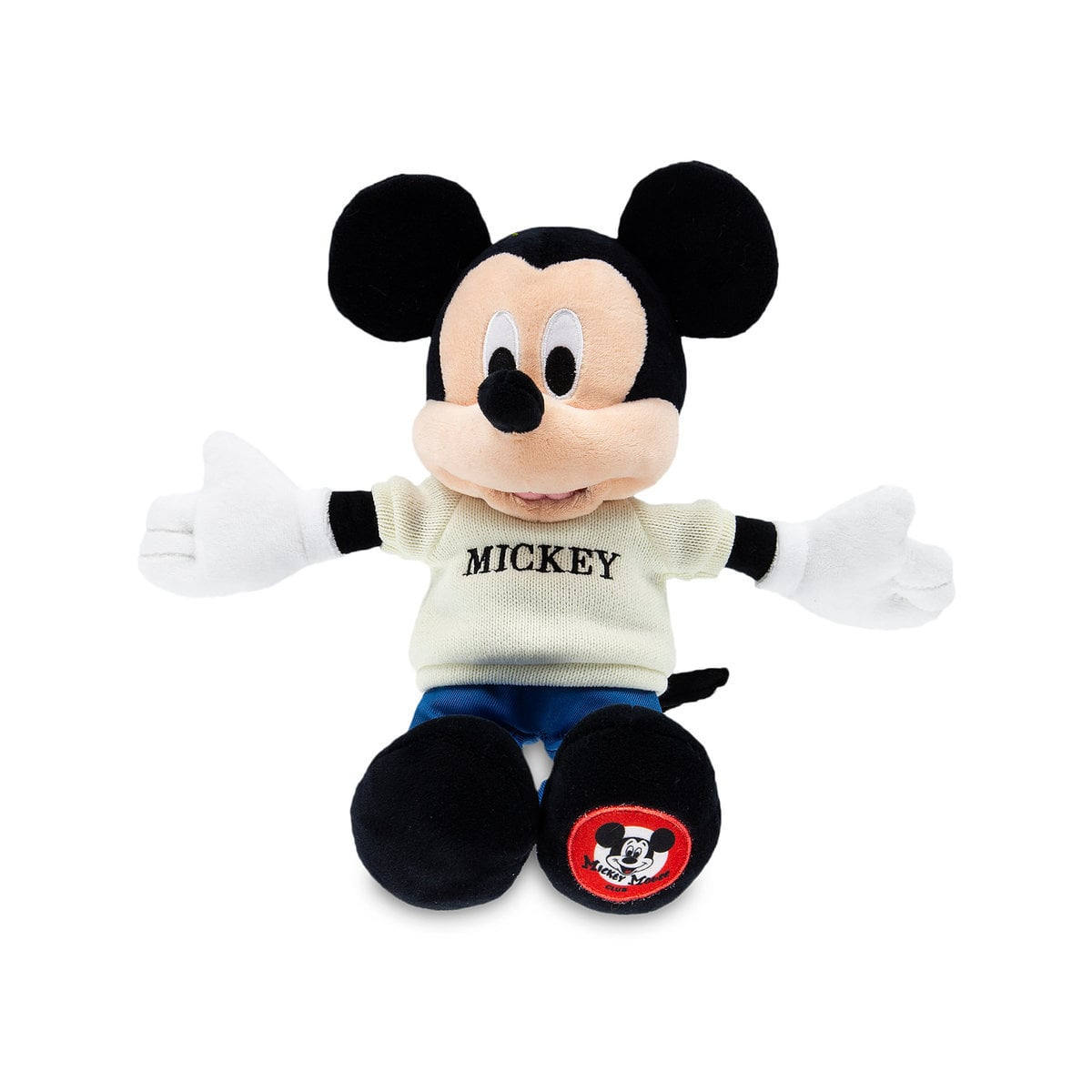 Super cute Mickey Mouse plush wearing a Mickey sweater | Top 25 Disney Gift Ideas for Toddlers featured by top US Disney blogger, Marcie and the Mouse