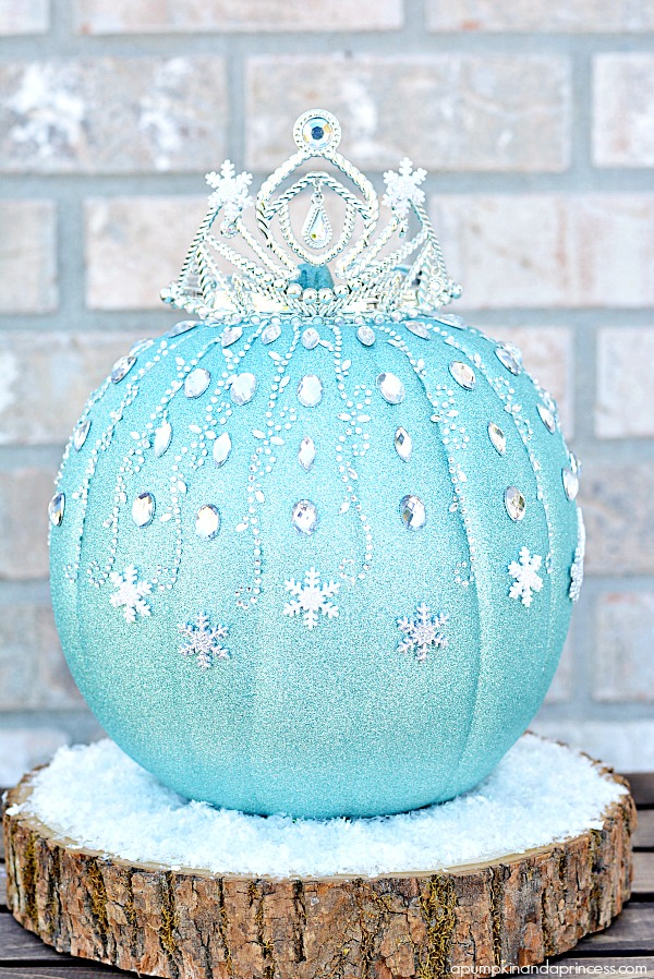 The Best 15 Disney No Carve Pumpkin Ideas featured by top US Disney blog, Marcie and the Mouse: Elsa Pumpkin from Disney's Frozen