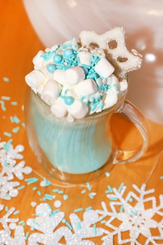 Disney Frozen Treats featured by top US Disney blogger, Marcie and the Mouse: image of Frozen Blue Hot Chocolate