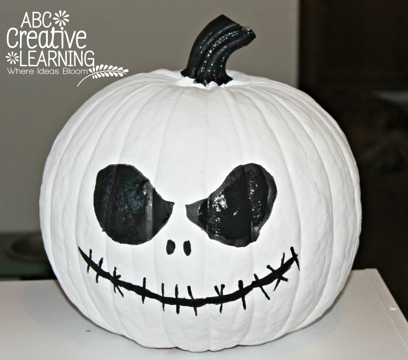 The Best 15 Disney No Carve Pumpkin Ideas featured by top US Disney blog, Marcie and the Mouse: Jack Skellington Nightmare Before Christmas pumpkin