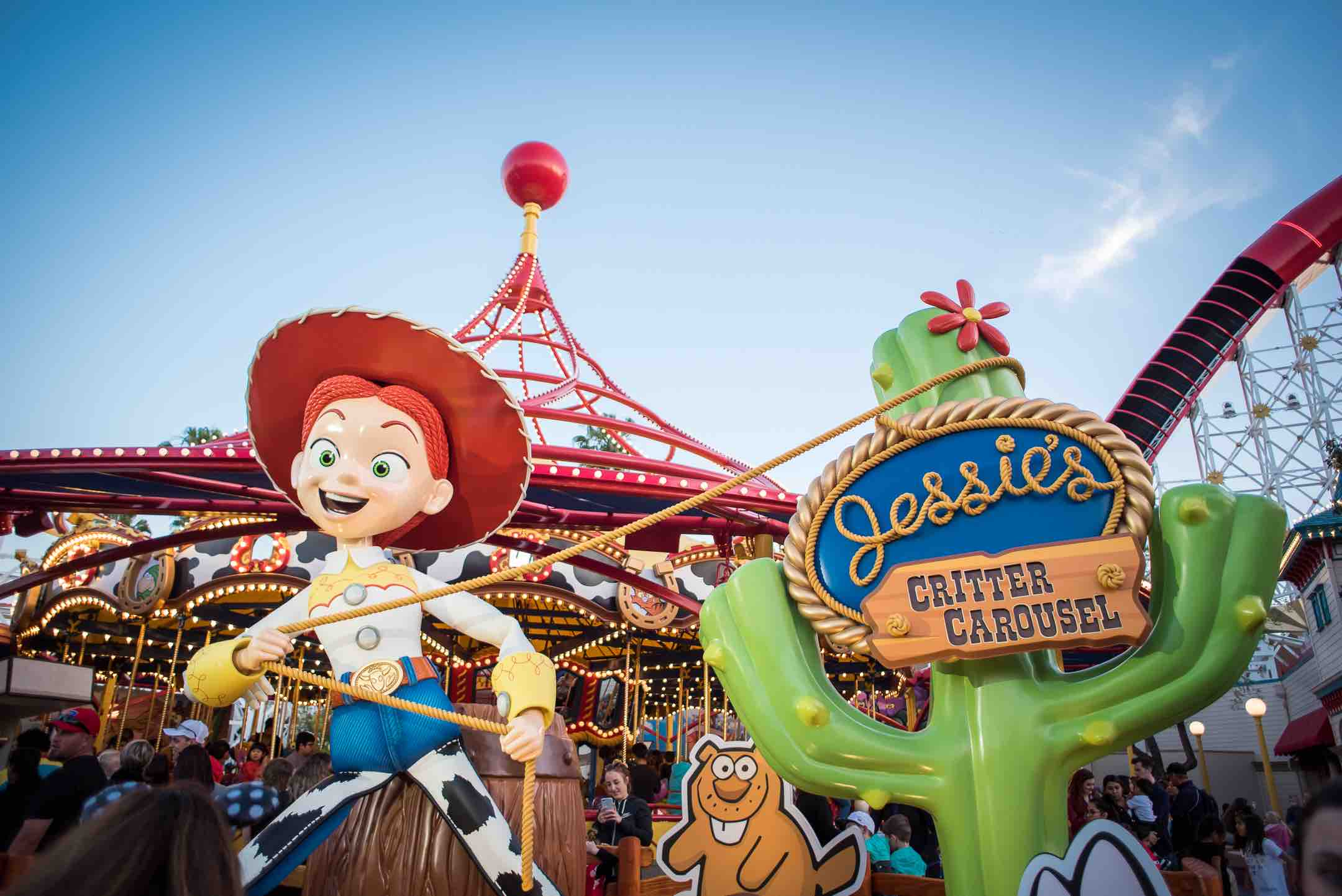 How to find Discount Disney Tickets, info featured by top US Disney blogger, Marcie and the Mouse: Jessie's Critter Carousel is a newer attraction on Pixar Pier at Disney California Adventure