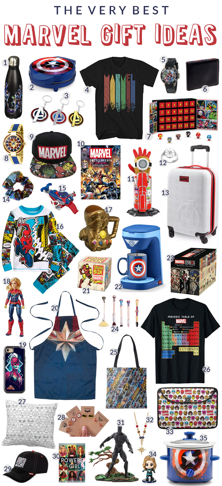 35 Amazing Marvel Gift Ideas featured by top US Disney blogger, Marcie and the Mouse | Marvel gift ideas featuring Spider-Man, Iron Man, Captain America, Captain Marvel, the Hulk, the Avengers, and More