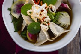The Best Vegan Food at Walt Disney World featured by top US Disney blogger, Marcie and the Mouse   Steamed Asian Dumplings, Le Cellier, Epcot, Walt Disney World
