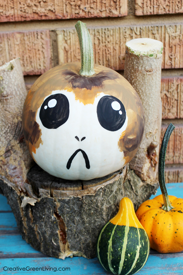 The Best 15 Disney No Carve Pumpkin Ideas featured by top US Disney blog, Marcie and the Mouse: Star Wars Porg Pumpkin Idea