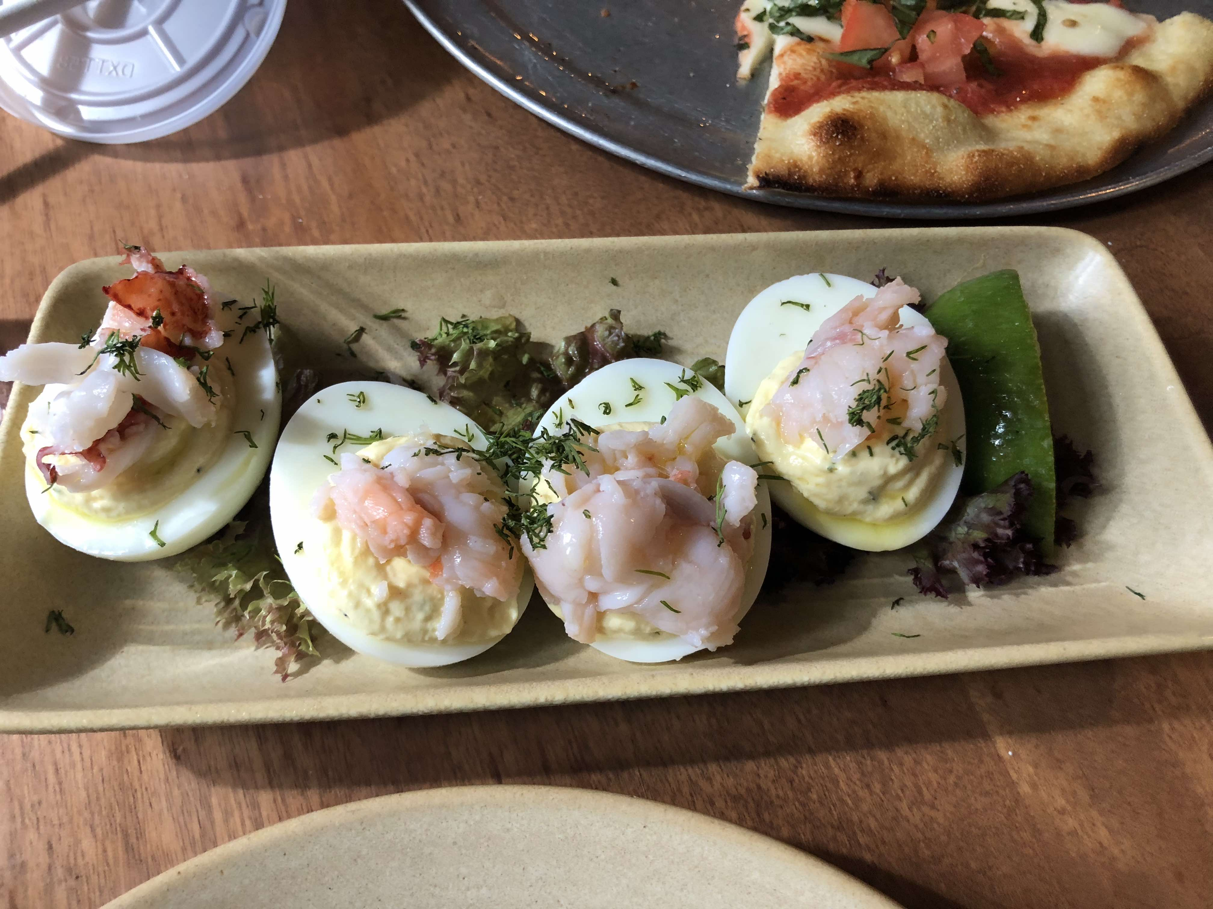 Aulani Resort Dining Guide featured by top US Disney blogger, Marcie and the Mouse: Lobster topped deviled eggs at Monkeypod Kitchen on Oahu