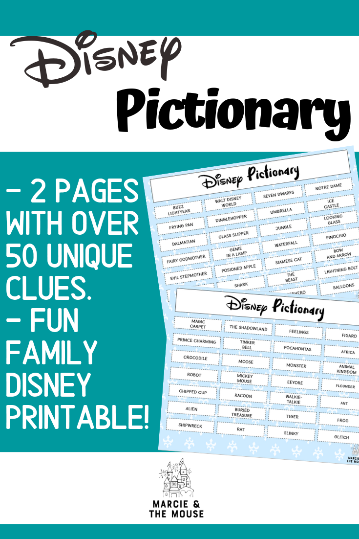 Disney Pictionary Game: a FREE Printable featured by top US Disney blogger, Marcie and the Mouse