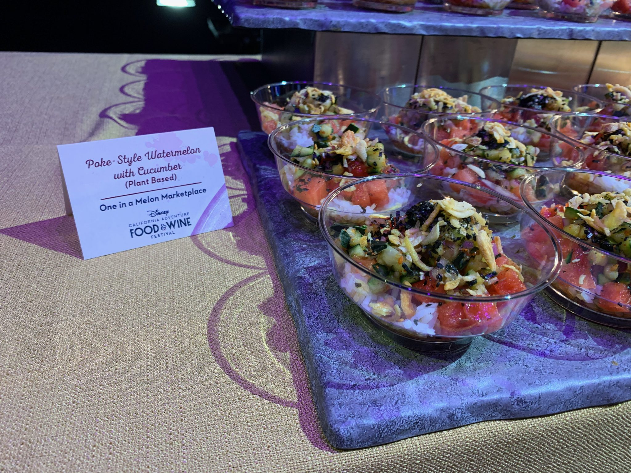 2020 Disney California Adventure Food & Wine Festival guide featured by top US Disney blogger, Marcie and the Mouse: Watermelon and Cucumber Poke at Disney California Food & Wine Festival