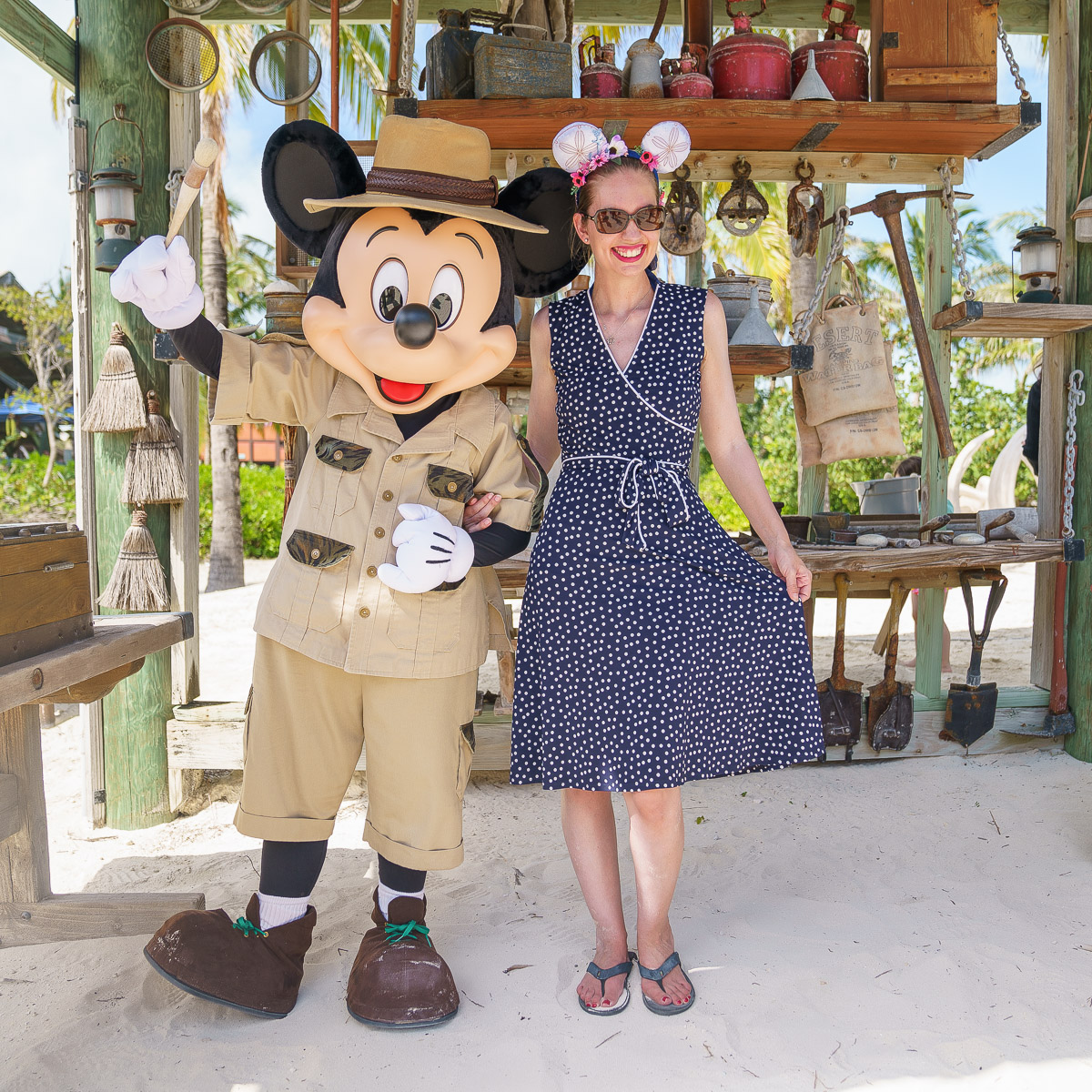 Top 10 Things to Do on Disney Fantasy featured by top US Disney blogger, Marcie and the Mouse: Meeting Mickey Mouse in his archeologist gear at Castaway Cay