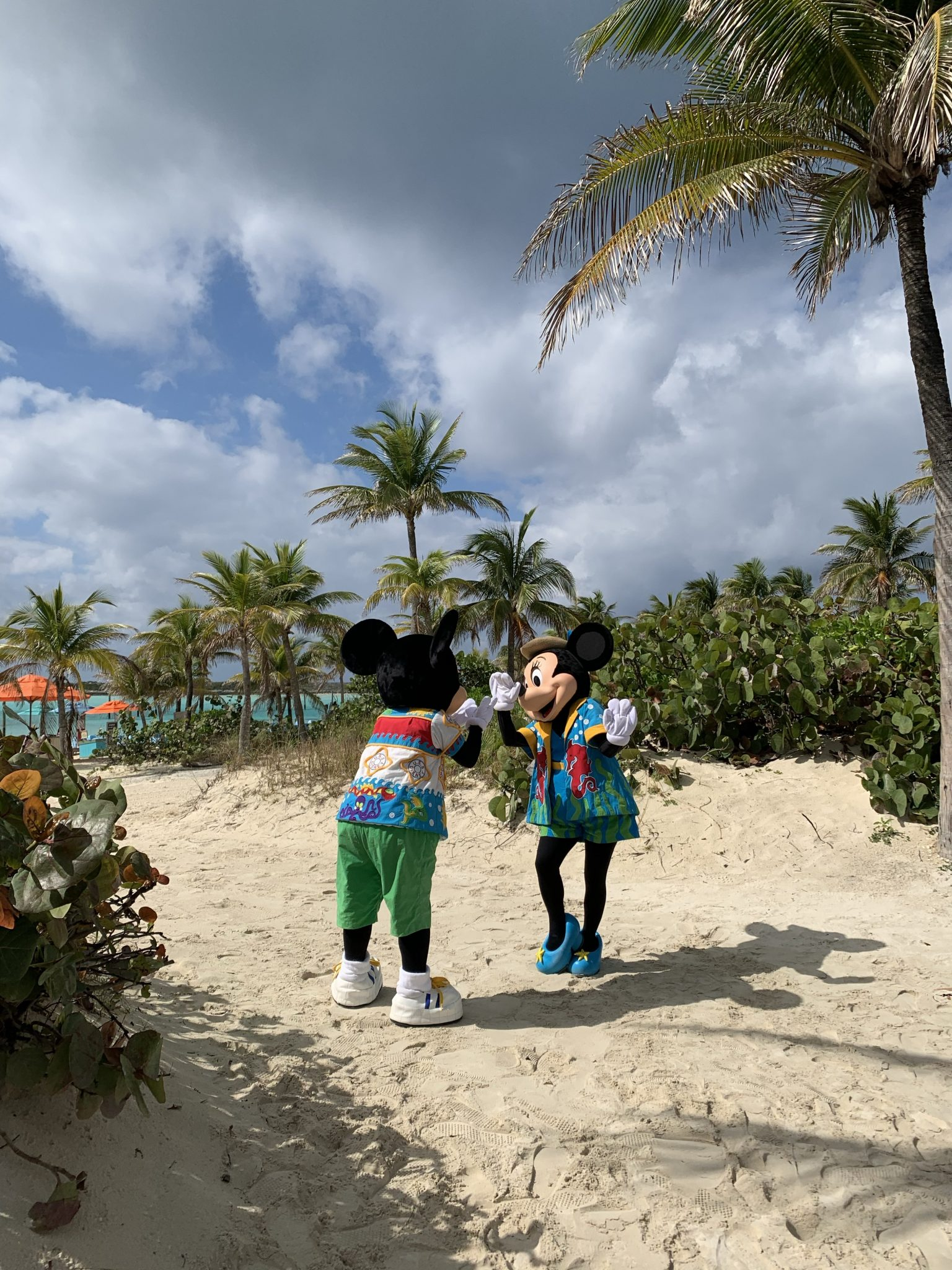 Castaway Cay Activities: a Complete Guide to Beaches and Events featured by top US Disney blogger, Marcie and the Mouse: Mickey and Minnie greet each other during a Castaway Cay character photo spot swap