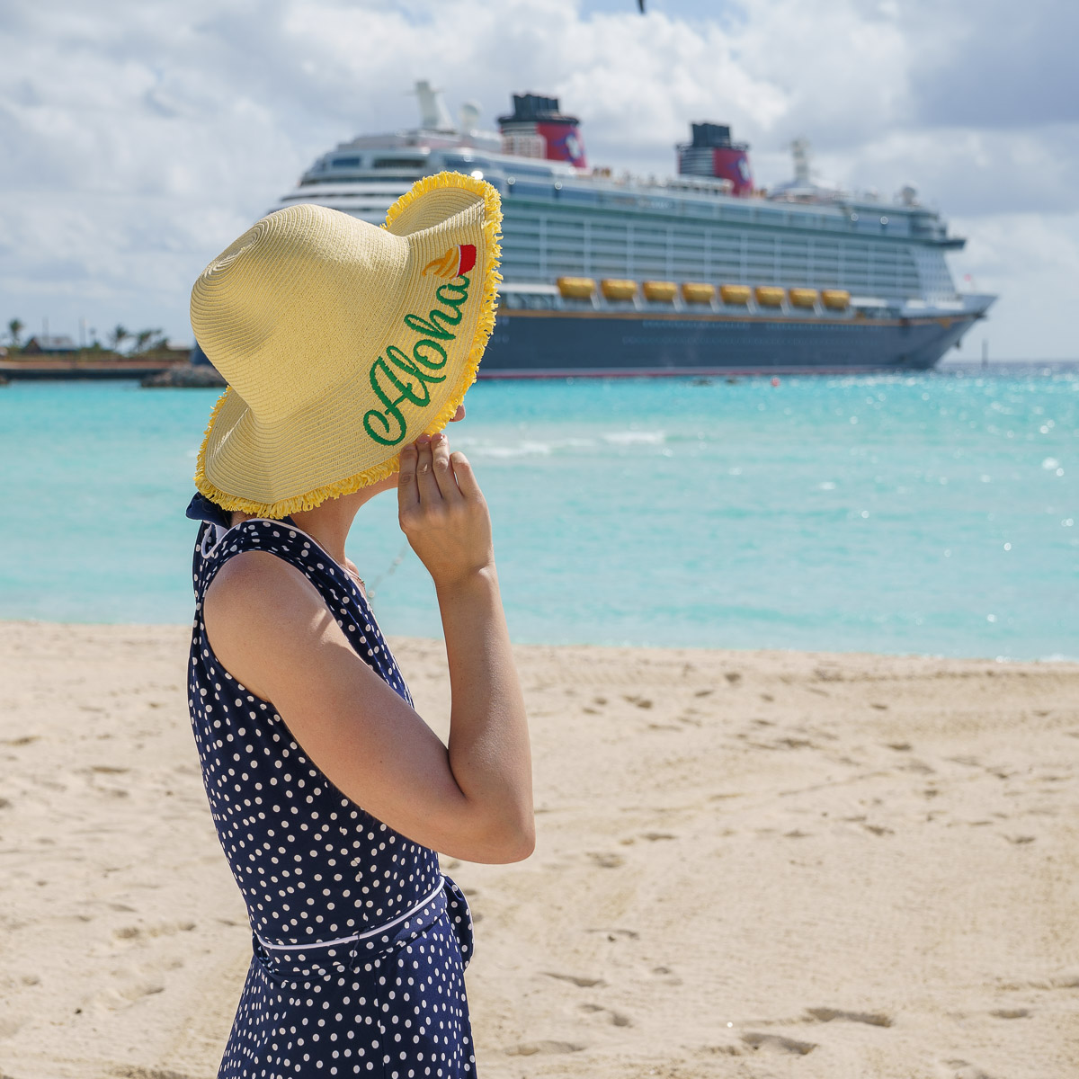 Castaway Cay Activities: a Complete Guide to Beaches and Events featured by top US Disney blogger, Marcie and the Mouse: Remember to bring a sun hat when visiting Castaway Cay on a Disney Cruise