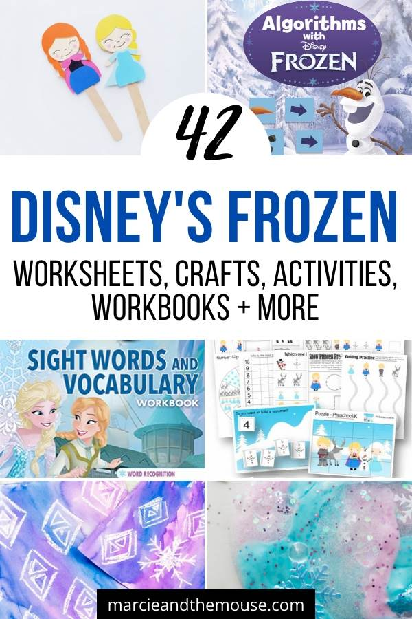 Frozen Crafts, Activities, Workbooks, Worksheets featured by top US Disney blogger, Marcie and the Mouse