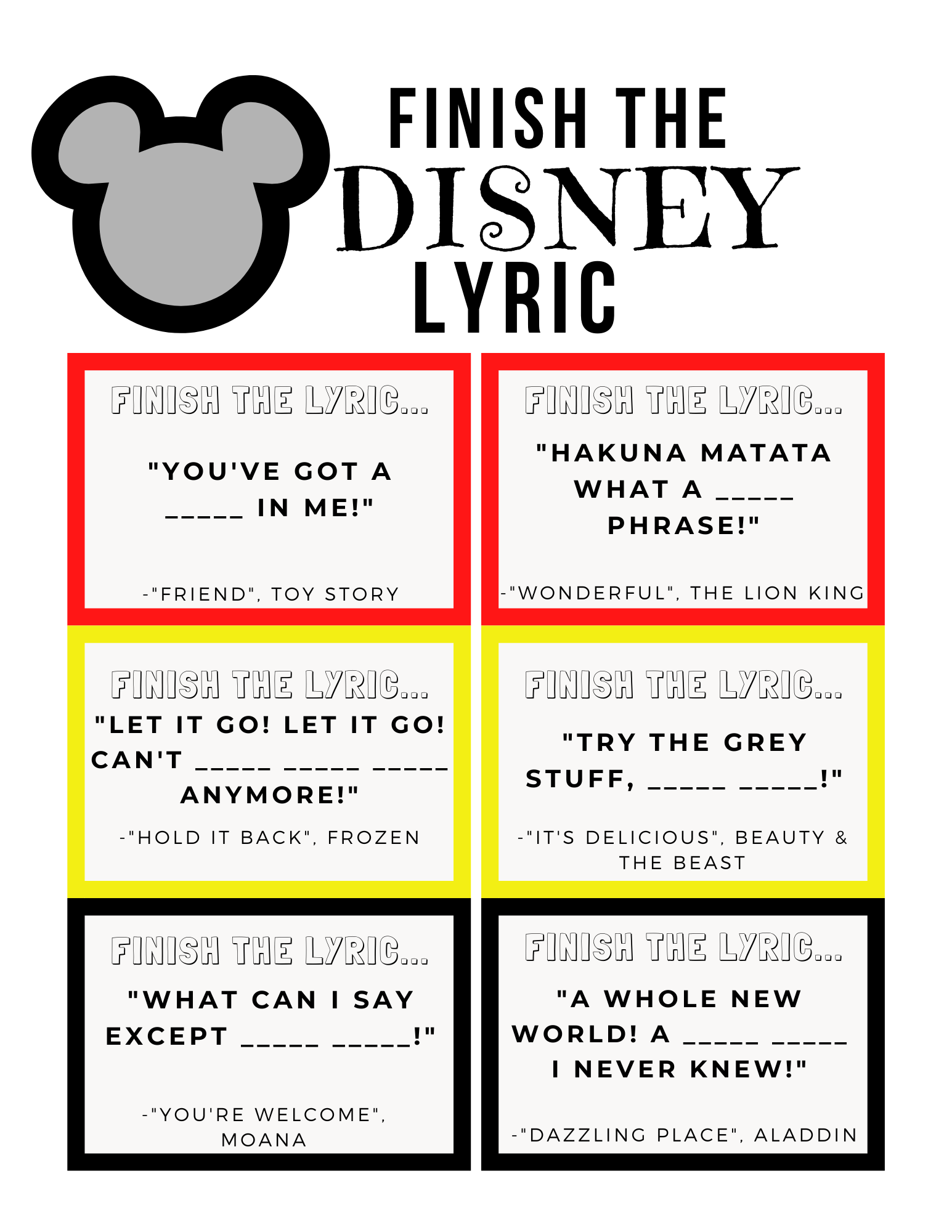 Finish the Lyrics Game Disney Edition featured by top US Disney blogger, Marcie and the Mouse.