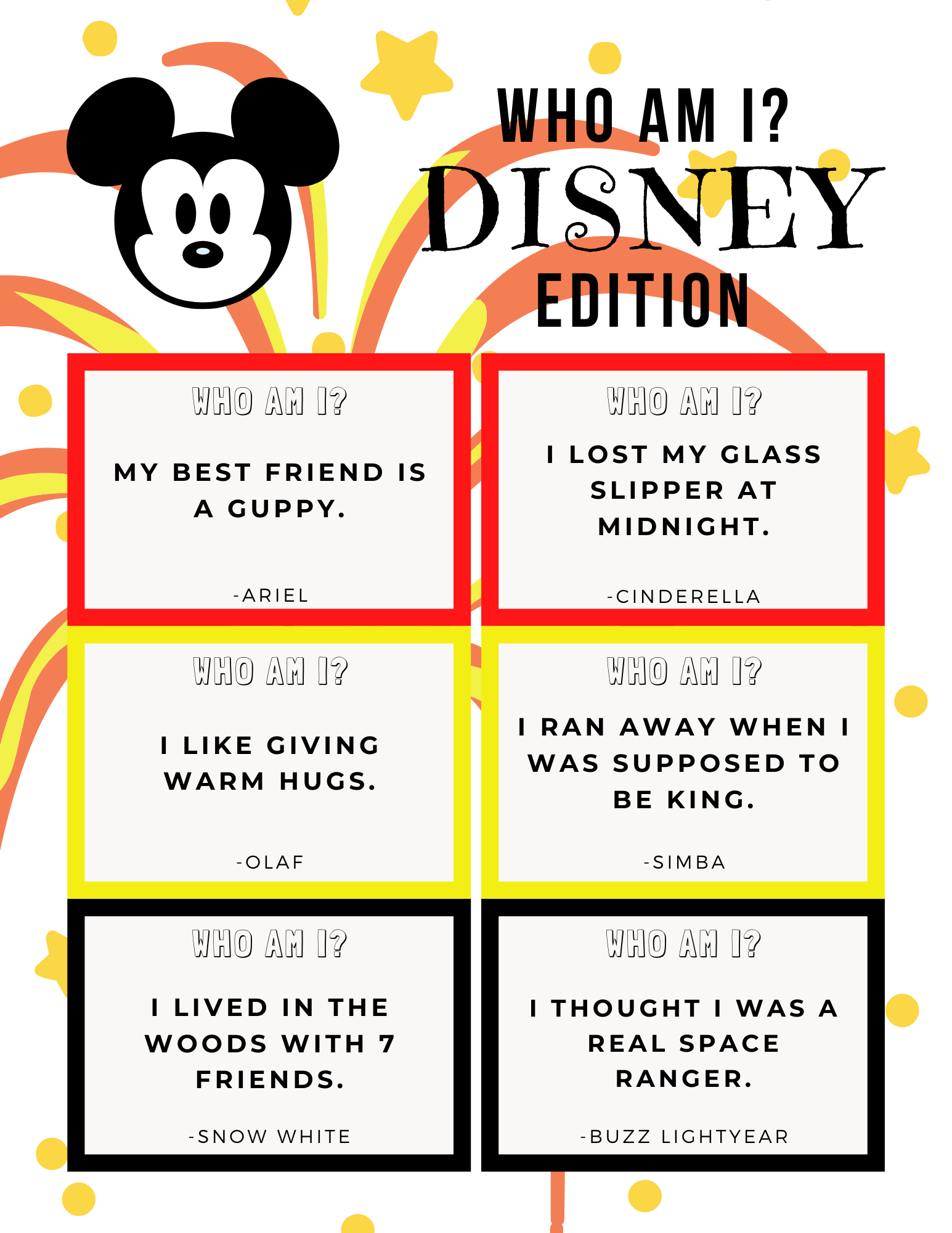 FREE Disney Trivia Game Printable: Disney Who Am I? Game featured by top US Disney blogger, Marcie and the Mouse
