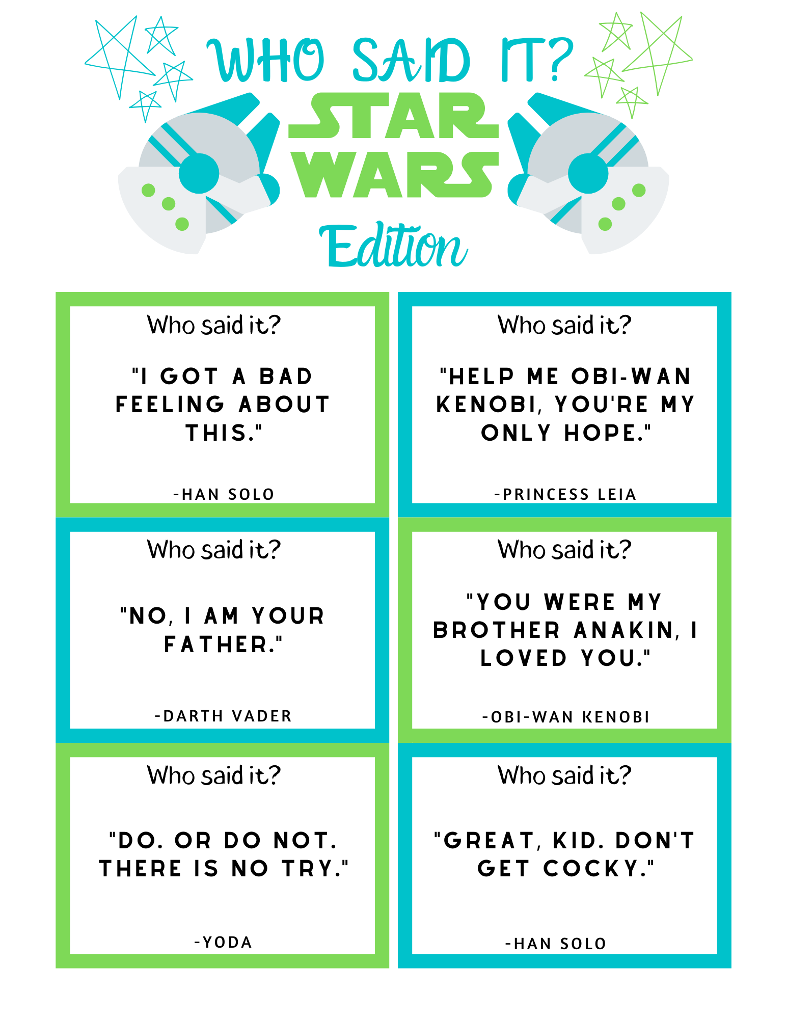 FREE Star Wars Trivia Game Printable featured by top US Disney blogger, Marcie and the Mouse