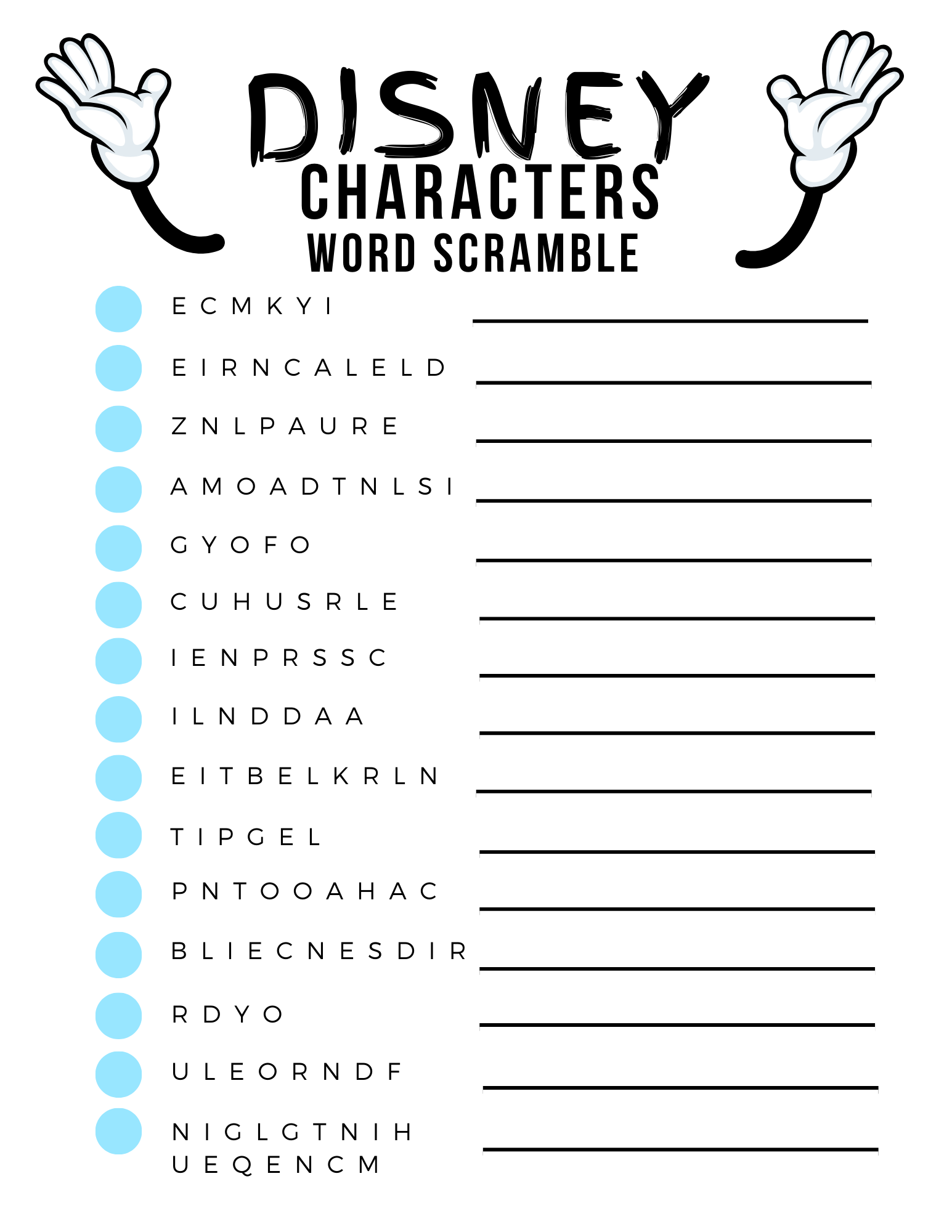 Disney Word Scramble Game FREE printable featured by top US Disney blogger, Marcie and the Mouse.