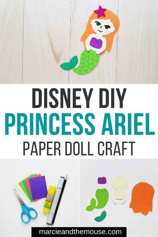 FREE Little Mermaid Craft: Princess Ariel Paper Doll featured by top US Disney blogger, Marcie and the Mouse