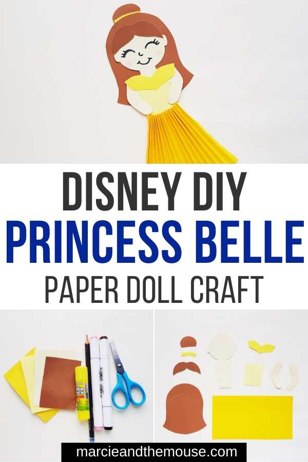 Beauty and the Beast Craft: Princess Belle Paper Doll featured by top US Disney blogger, Marcie and the Mouse