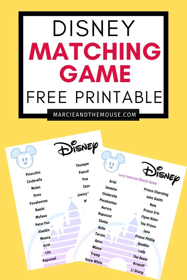 Disney Printable: Sidekicks, Love Interests + Villains Matching Game featured by top US Disney blogger, Marcie and the Mouse