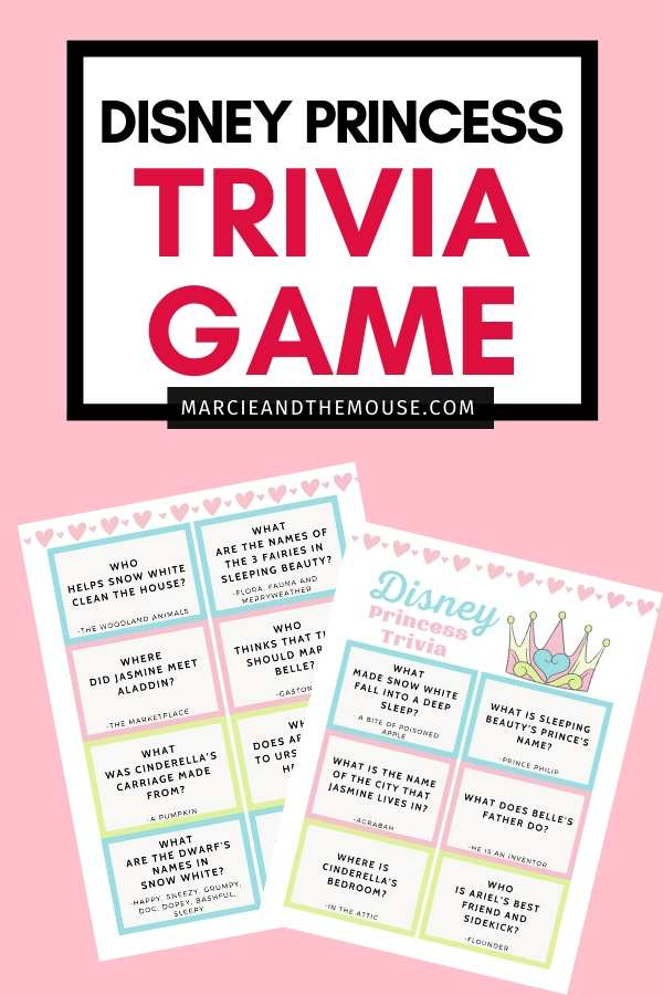 FREE Disney Princess Trivia Game Printable featured by top US Disney blogger, Marcie and the Mouse