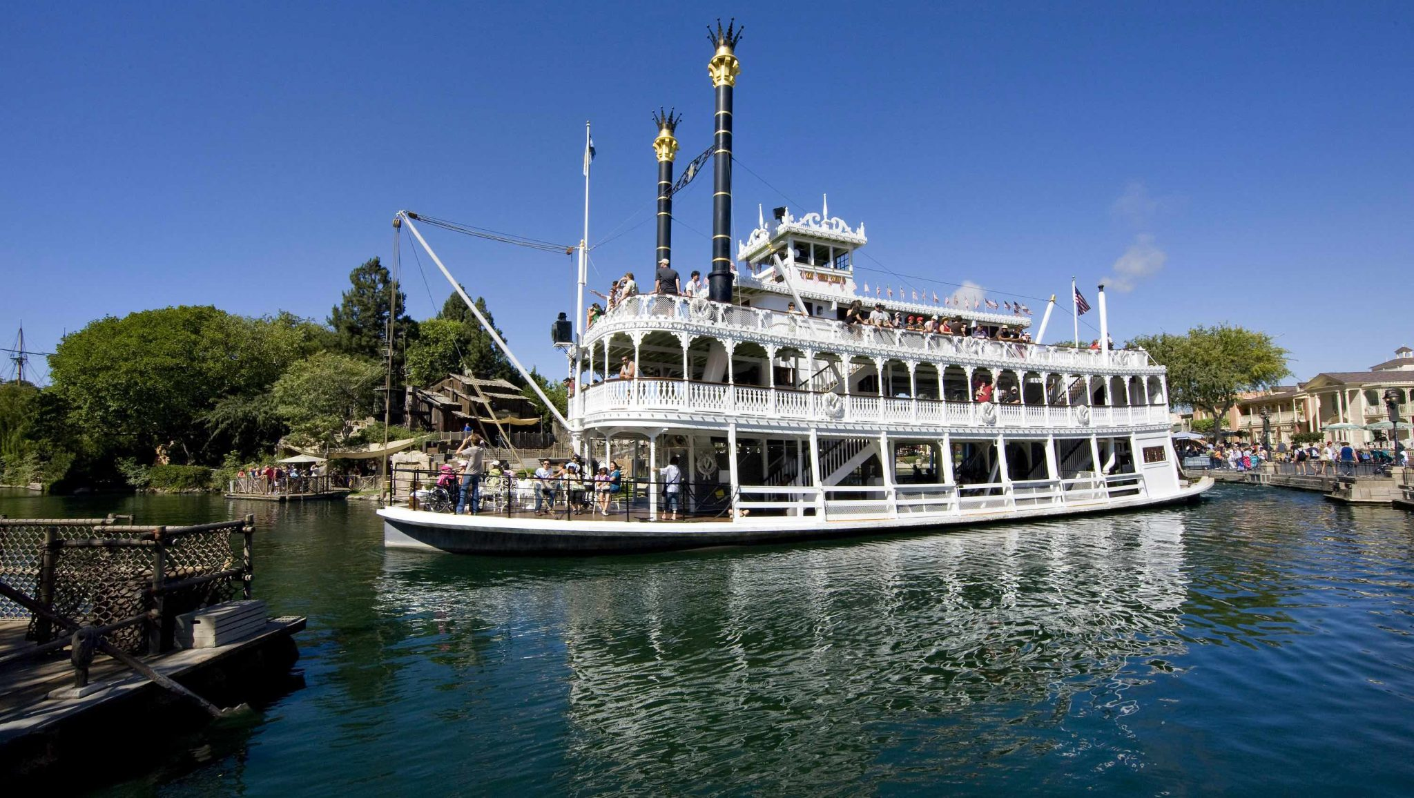 How To Bring Disney into Your Homeschool Routine, tips featured by top US Disney blogger, Marcie and the Mouse: MARK TWAIN RIVERBOAT -- While visiting Frontierland, Disneyland park guests can cruise back in time on a 14-minute sightseeing voyage aboard a recreation of the glorious 19th-century steam-powered paddlewheel riverboats that carried people and cargo up and down the mighty Mississippi. (Paul Hiffmeyer/Disneyland)