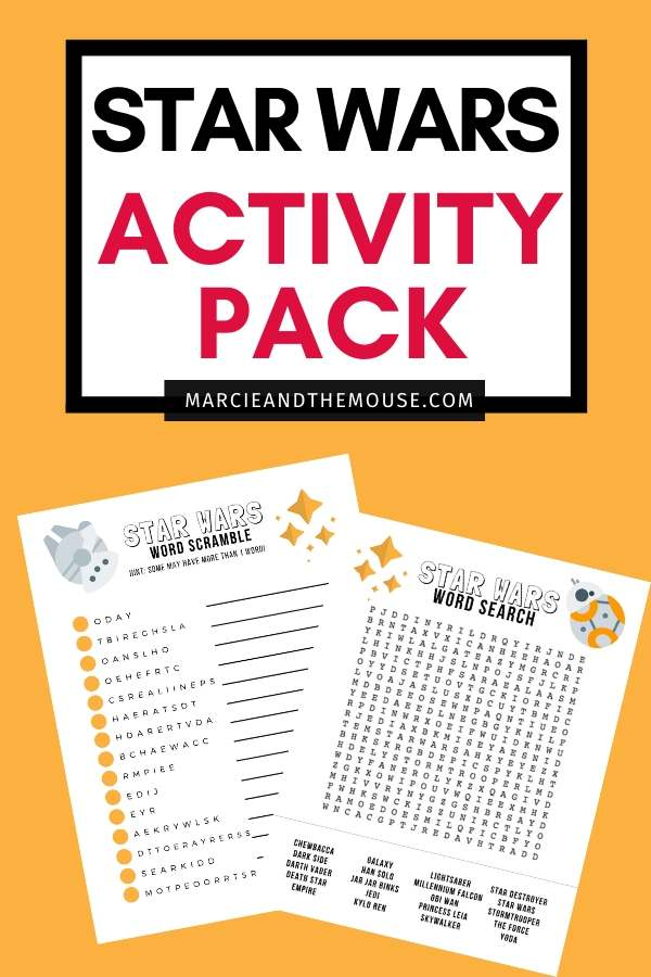 4 Super Fun Star Wars Activities in 1 FREE Printable Pack featured by top US Disney blogger, Marcie and the Mouse