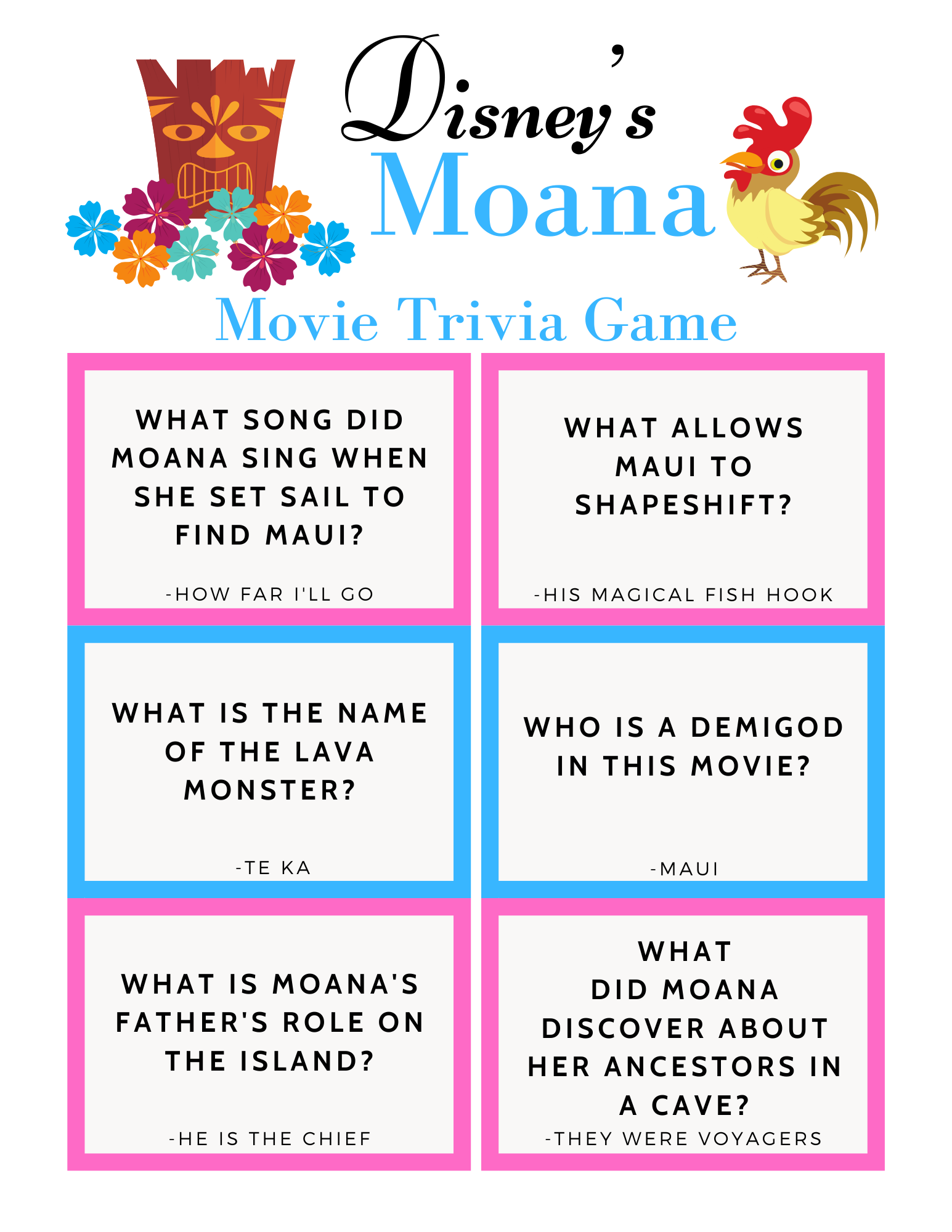 Disney Moana Trivia Game from top Disney Blog Marcie and the Mouse