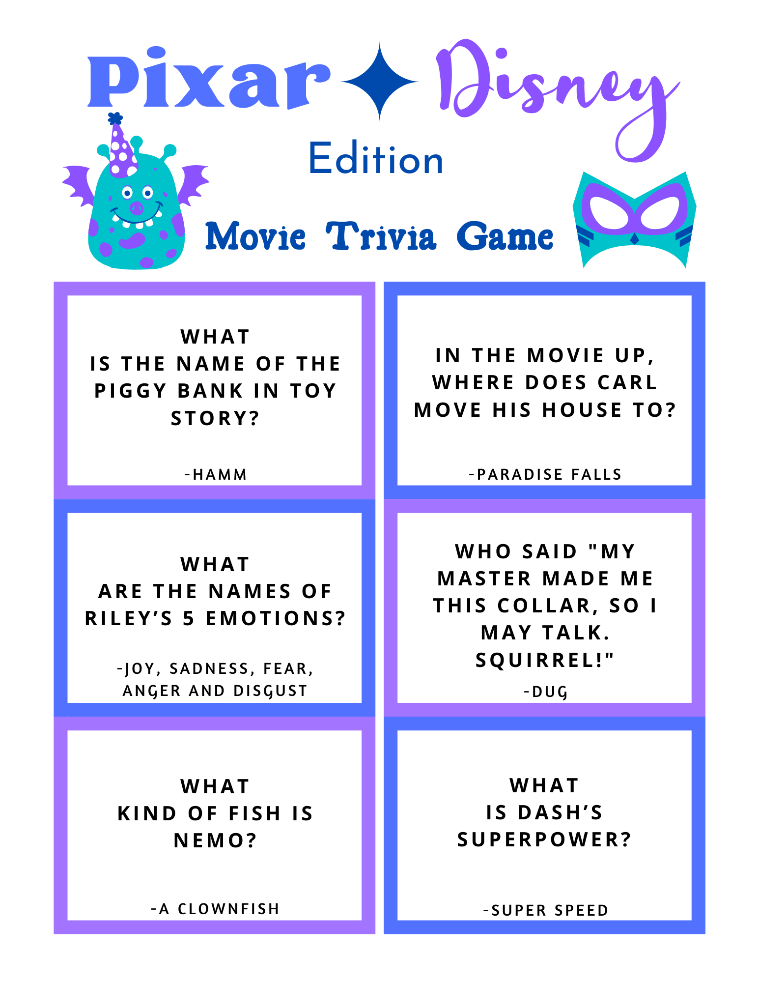 FREE Disney Pixar Trivia Game Printable featured by top US Disney blogger, Marcie and the Mouse